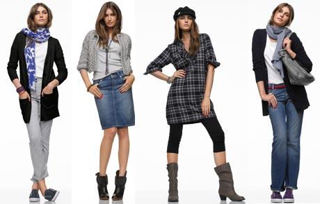 Справа на фото джинсы в стиле Кэжуал.