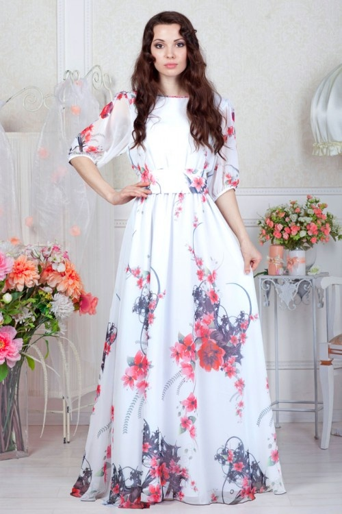 Платье цветами в пол
